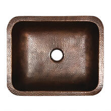 17 Inch x 14 Inch Hammered Copper Rectangle Undermount Bathroom Sink, 1.5 Inch Drain