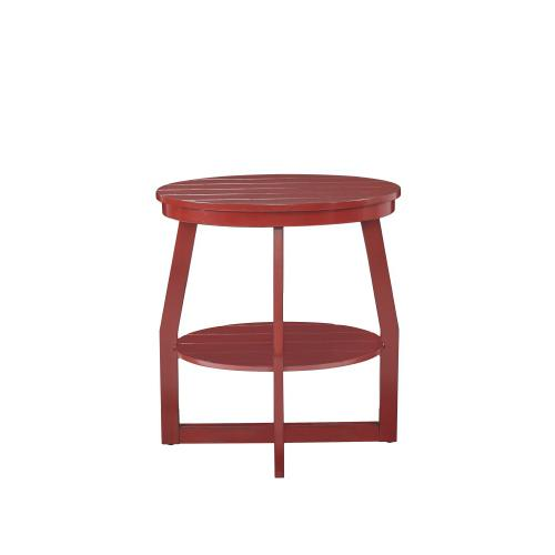 Oval Lower Shelf Accent Table, Red