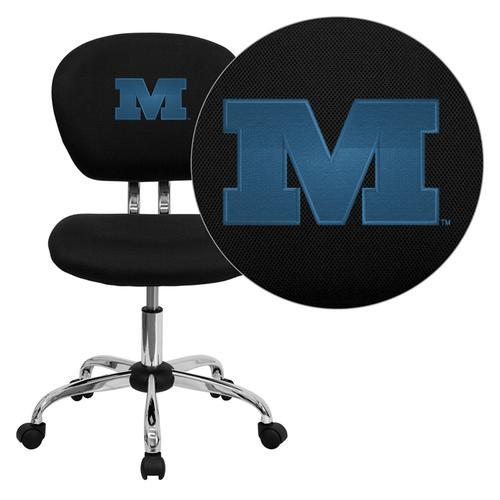 Millikin University Big Blue Embroidered Black Mesh Task Chair with Chrome Base