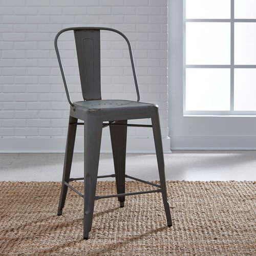 Liberty Furniture Industries - Bow Back Counter Chair - Grey (RTA)