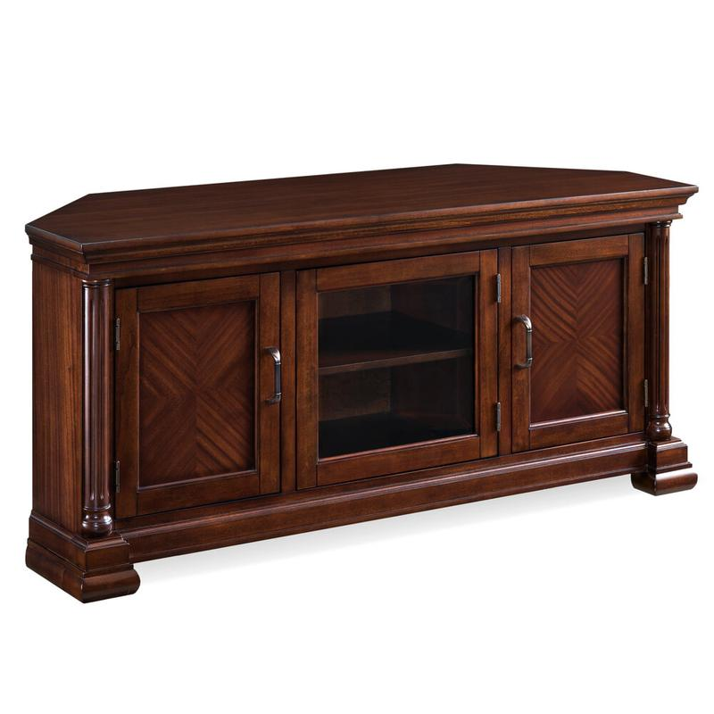 "Corvino 52"" Corner TV Console with Glass Center Door #81685"