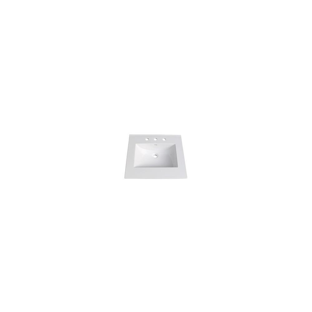 "25"" White Ceramic Vanity Sink Top with Integral Bowl - 8"" spread"