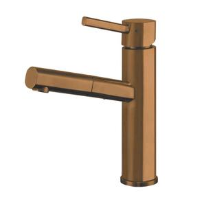 Waterhaus lead-free, solid stainless steel, single-hole faucet with a pull-out spray head, swivel spout, and lever handle. Product Image
