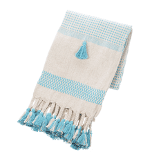 Turquoise & Natural Striped Woven Throw with Braided Tassels