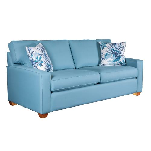 """Capris Furniture - 2 over 2 Convo-Lux seat cushion Sofa w/ 2-1/2"""" Pyramid legs available in Caramel, Black Cherry, Frost, Driftwood or Walnut finish."""
