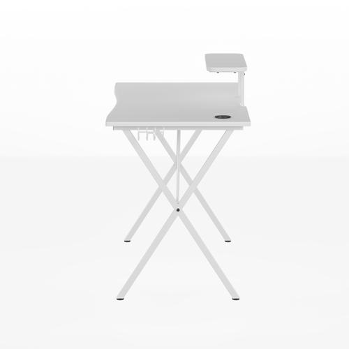 Flash Furniture - White Gaming Desk with Cup Holder, Headphone Hook, and Monitor\/Smartphone Stand