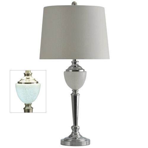 L312243  Chrome Table Lamp with Crystal Glass Font and LED Night Light