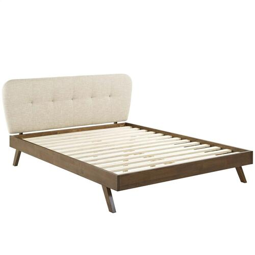 Gianna Queen Upholstered Polyester Fabric Platform Bed in Beige