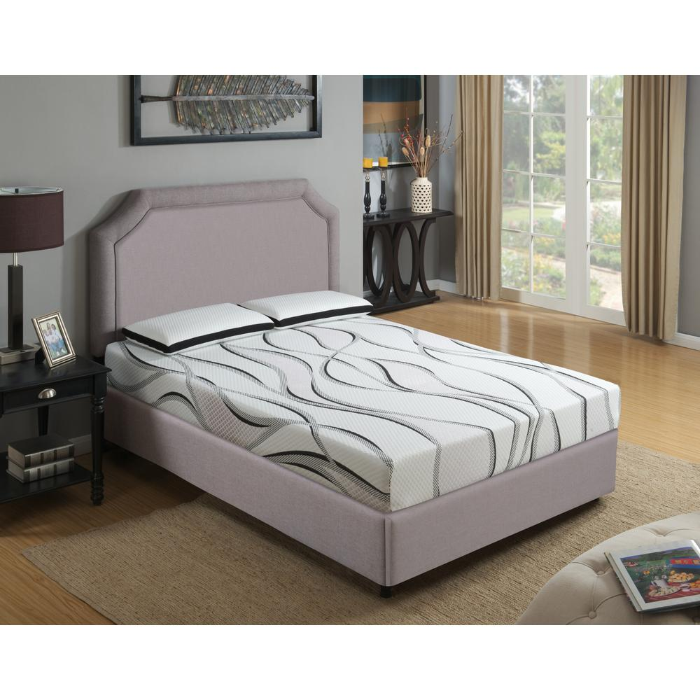 "Emerald Home Cool Jewel Mattress Twilight II 8""gel- Memory Foam Cal King White-black W/ Grey Ribbons Es5208ckm"