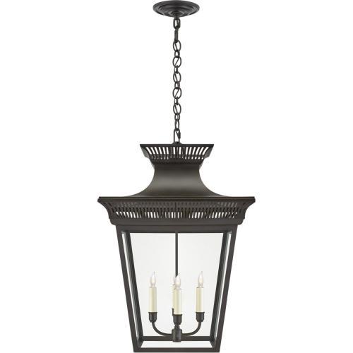 Visual Comfort CHC5051BLK-CG E. F. Chapman Elsinore 4 Light 18 inch Black Hanging Lantern Ceiling Light in Matte Black, Large