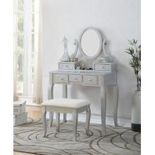 Ashley Silver Wood Makeup Vanity Table and Stool Set
