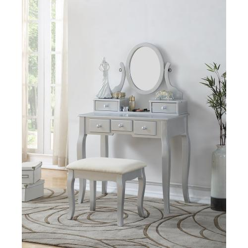 Round Hill Furniture - Ashley Silver Wood Makeup Vanity Table and Stool Set