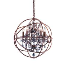 Geneva 5 light Rustic Intent Pendant Silver Shade (Grey) Royal Cut crystal