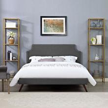 View Product - Corene King Fabric Platform Bed with Round Splayed Legs in Gray
