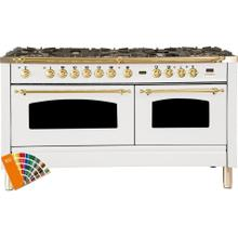 Nostalgie 60 Inch Dual Fuel Natural Gas Freestanding Range in Custom RAL Color with Brass Trim