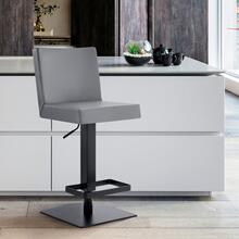 Legacy Contemporary Swivel Barstool in Matte Black Finish and Grey Faux Leather