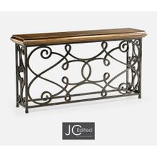 """72"""" Rectangular Golden Ale Console with Wrought Iron Base"""