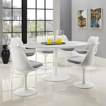 "Lippa 60"" Oval Wood Top Dining Table in White"