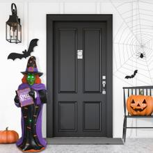 Haunted Hill Farm 4-Ft. Pre-Lit Halloween Witch with LED and Fiber Optic Lights, FFRS048-1WTC-MLT
