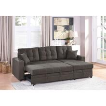 Lorene 2pc Sectional Sofa Set, Ash-black-cotton-blend