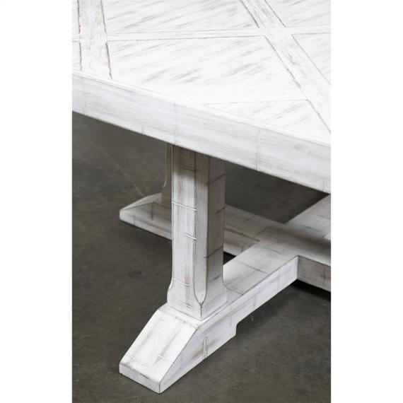 Riverside - Parquet Coffee Table - Rustic White Finish