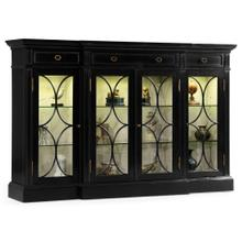 Black painted 4-door breakfront display cabinet