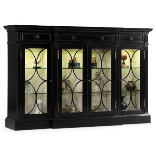 Black painted 4-door breakfront display cabinet