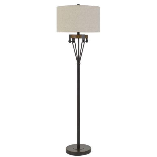 Kirkcaldy Metal/Wood Floor Lamp With Drum Burlap Shade