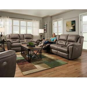 Double Reclining Console Sofa with Power Headrest