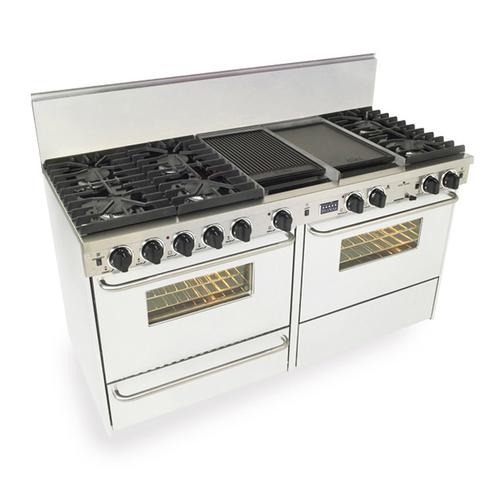 """Five Star - 60"""" Dual Fuel, Convect, Self Clean, Sealed Burners, White"""