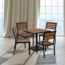 See Details - Outdoor Patio Bistro Dining Table Set with 4 Chairs and Faux Teak Poly Slats
