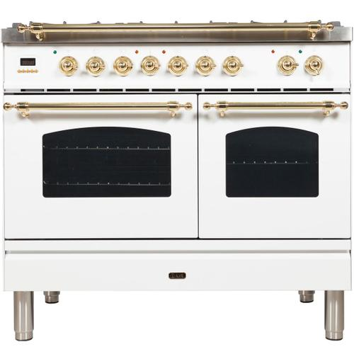 Nostalgie 40 Inch Dual Fuel Natural Gas Freestanding Range in White with Brass Trim