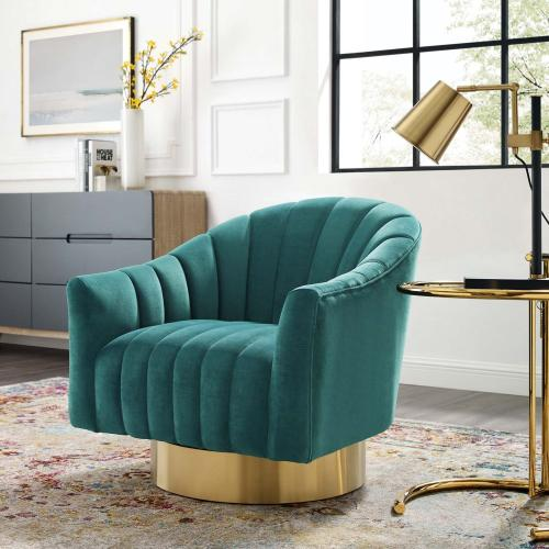 Buoyant Vertical Channel Tufted Accent Lounge Performance Velvet Swivel Chair in Teal