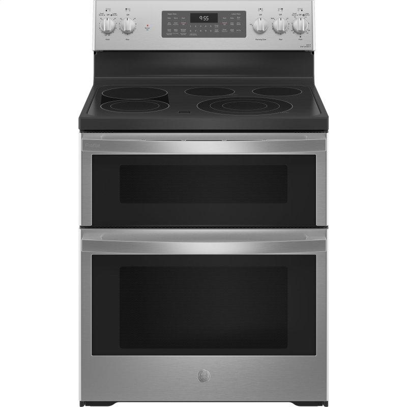 """GE Profile™ 30"""" Smart Free-Standing Electric Double Oven Convection Range with No Preheat Air Fry"""