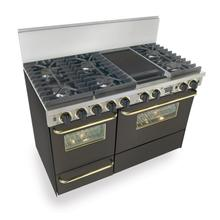 """48"""" Dual Fuel, Convect, Self Clean, Sealed Burners, Black with Brass Trim"""