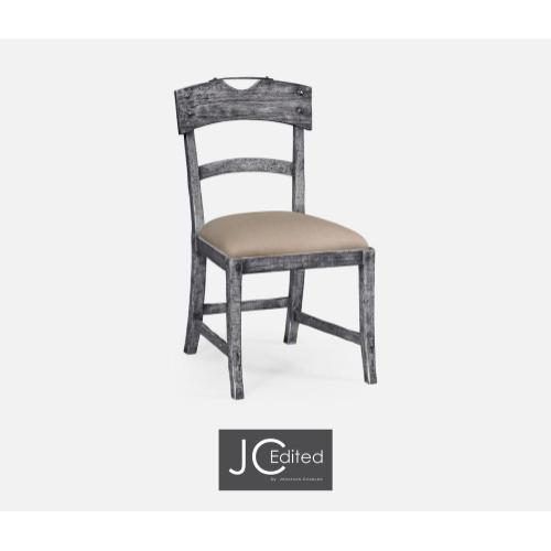 Antique dark grey side chair with upholstered seat