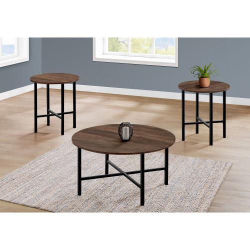 Gallery - TABLE SET - 3PCS SET / BROWN RECLAIMED WOOD / BLACK METAL