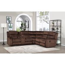 See Details - 8176 DARK BROWN Fabric Reversible Sectional Sofa Power Recliners