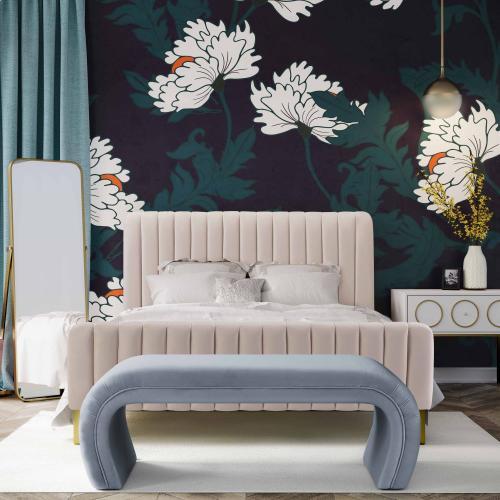 Product Image - Kenya Sea Blue Velvet Bench