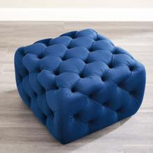 Amour Tufted Button Square Performance Velvet Ottoman in Navy
