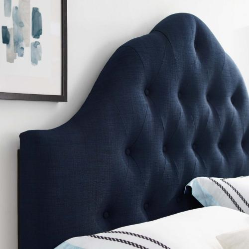 Sovereign Queen Upholstered Fabric Headboard in Navy