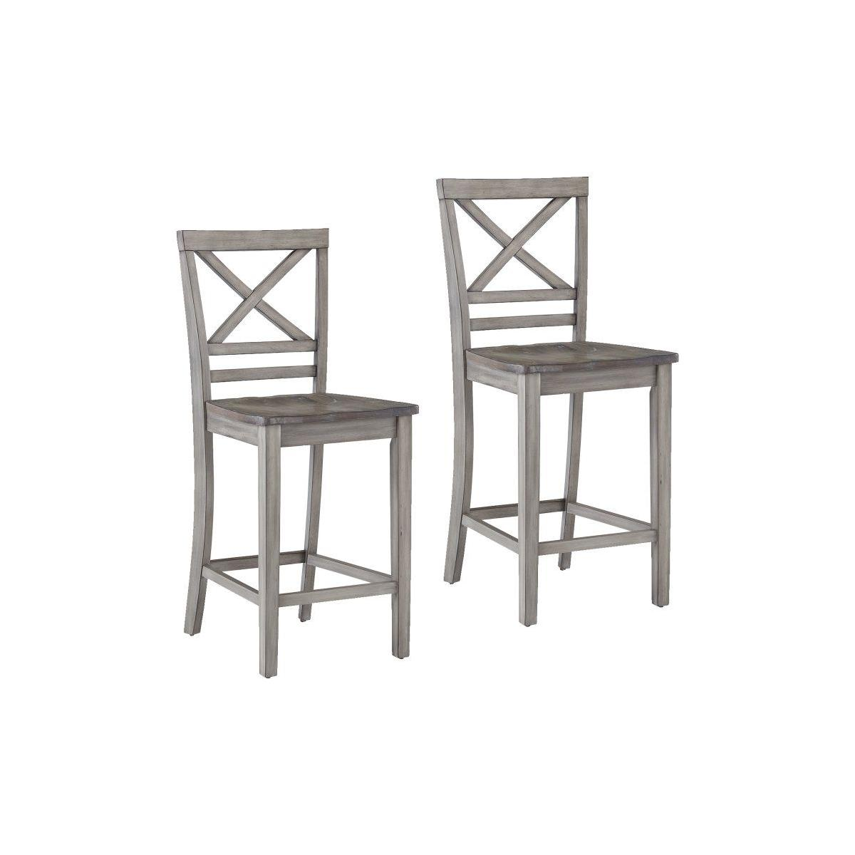 Fairhaven Grey Distressed 2-Pack Counter Height Barstools