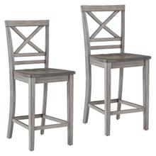 See Details - Fairhaven Grey Distressed 2-Pack Counter Height Barstools