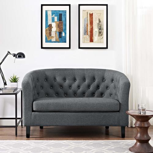 Prospect Upholstered Fabric Loveseat in Gray