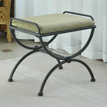 Microsuede Upholstered Iron Iron and Microsuede Vanity Stool - Sage Green