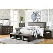 Queen Upholstered Panel Bed With Storage With Dresser