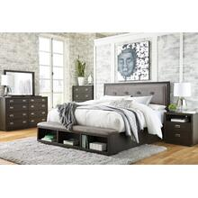 King Upholstered Panel Bed With Storage With Dresser