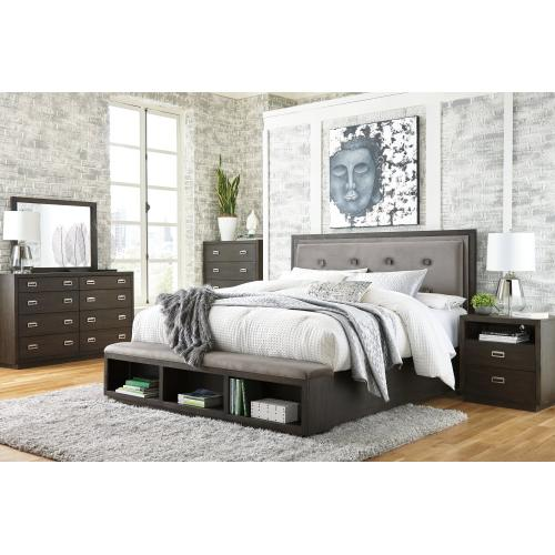 Queen Upholstered Panel Bed With Storage With Mirrored Dresser and 2 Nightstands