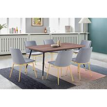 Messina Grey Velvet and Walnut 7 Piece Dining Set