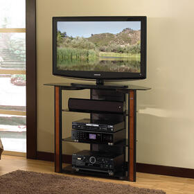 """Bedroom Height Black A/V system Furniture with Real Wood Trim for TVs up to 42"""""""